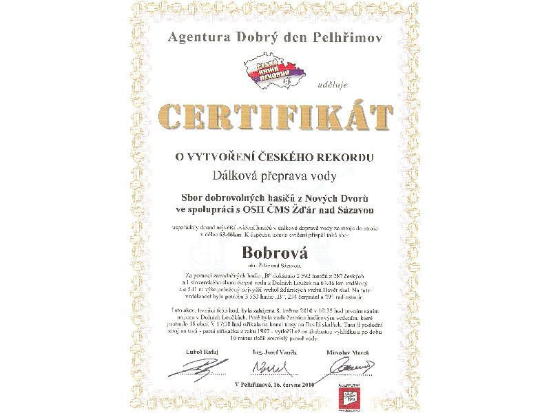 Certifikát z dálkové dopravy vody